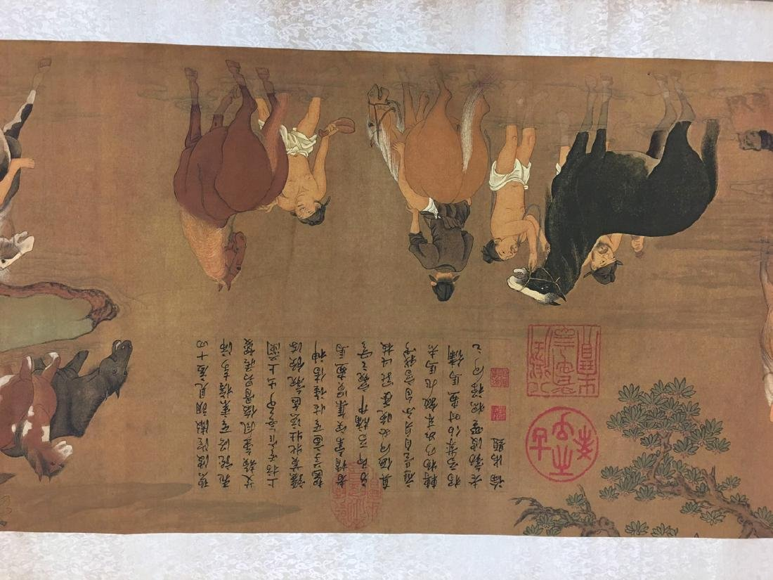 Chinese Hand Scroll Of Zhao Meng Tiao's Horse Bath - 3