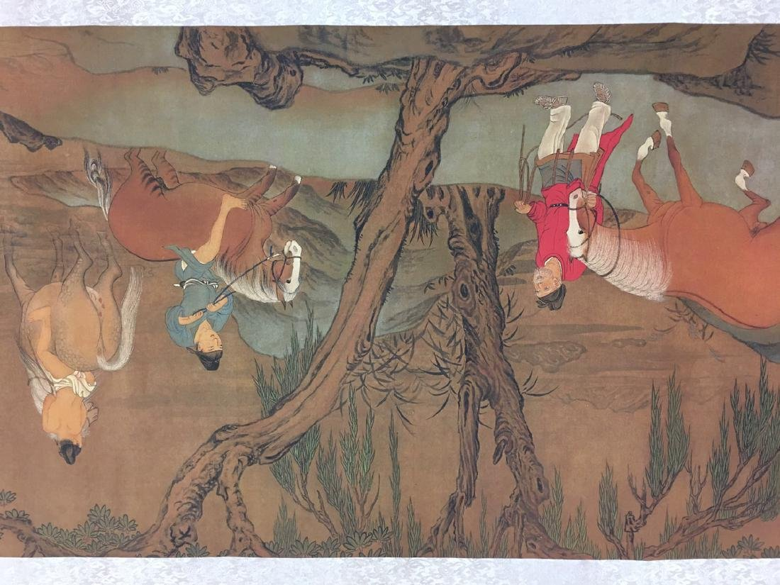 Chinese Hand Scroll Of Zhao Meng Tiao's Horse Bath - 5