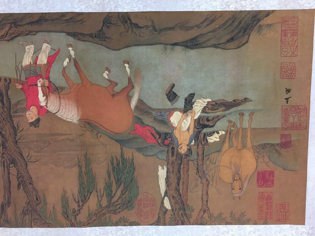 Chinese Hand Scroll Of Zhao Meng Tiao's Horse Bath - 6