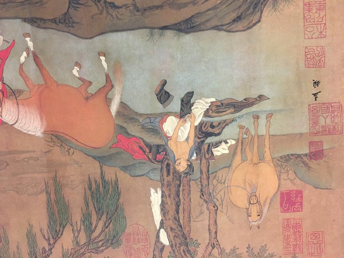 Chinese Hand Scroll Of Zhao Meng Tiao's Horse Bath - 8