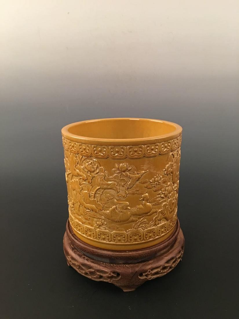 Chinese Yellow Glazed Brush Pot With Qian Long Mark