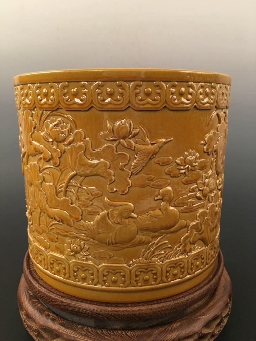 Chinese Yellow Glazed Brush Pot With Qian Long Mark - 2