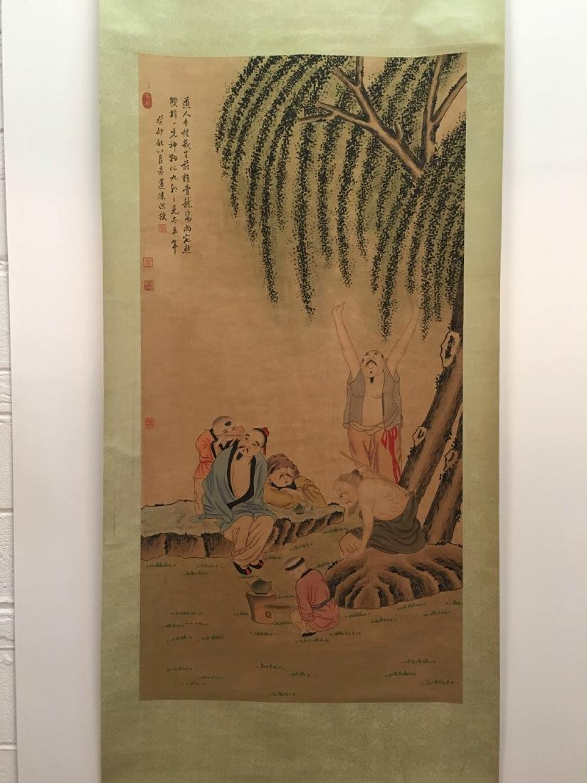 Chinese Hanging Scroll Of Country Side Scene With Chen