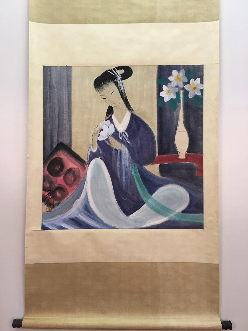 Chinese Hanging Scroll Of Lady