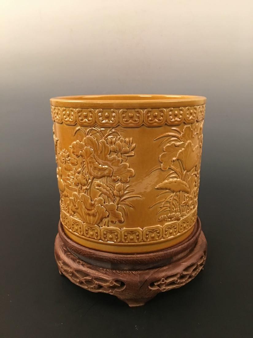 Chinese Yellow Glazed Brush Pot With Qian Long Mark - 3