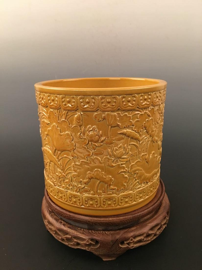 Chinese Yellow Glazed Brush Pot With Qian Long Mark - 4