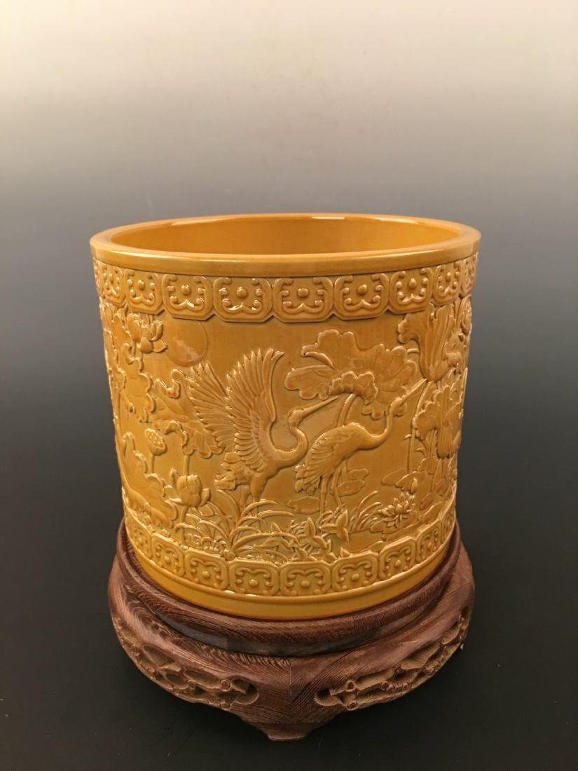 Chinese Yellow Glazed Brush Pot With Qian Long Mark - 5