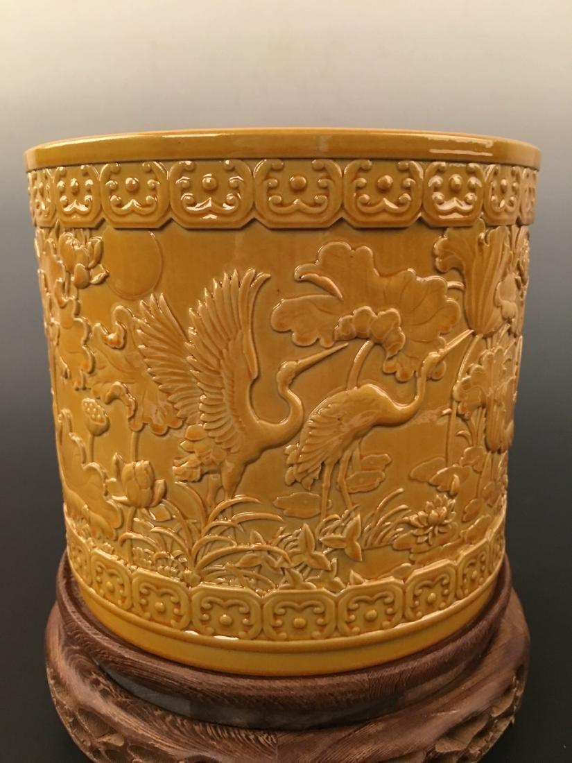 Chinese Yellow Glazed Brush Pot With Qian Long Mark - 6