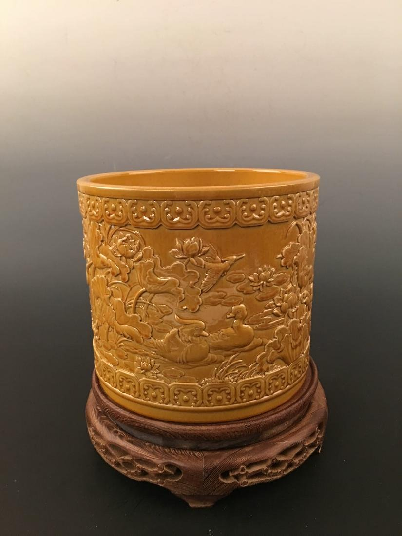 Chinese Yellow Glazed Brush Pot With Qian Long Mark - 7