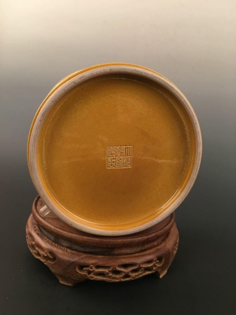 Chinese Yellow Glazed Brush Pot With Qian Long Mark - 8