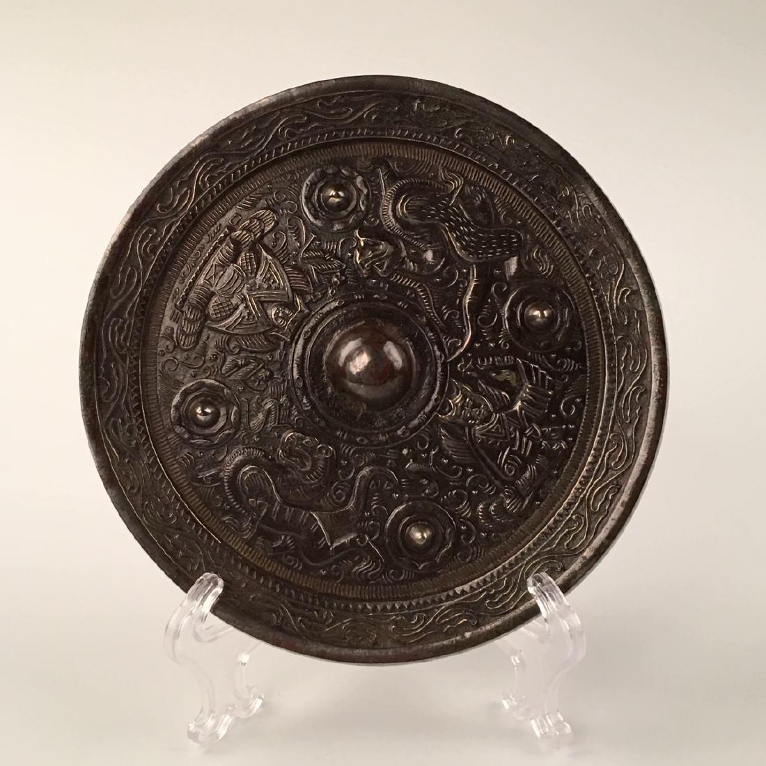 Chinese Bronze Round Mirror