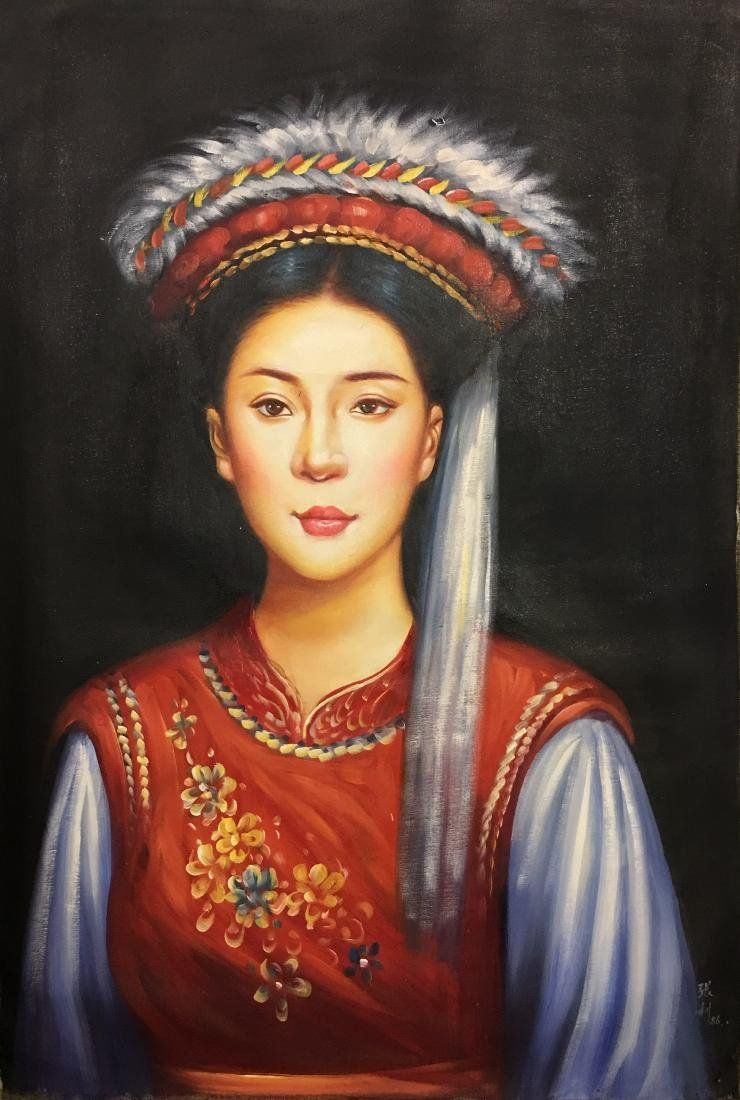Chinese Oil Painting of 'Beauty', Zhang Li Signature