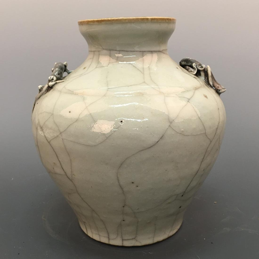Chinese Ge-Type Porcelain Jar With Chi-Dragon