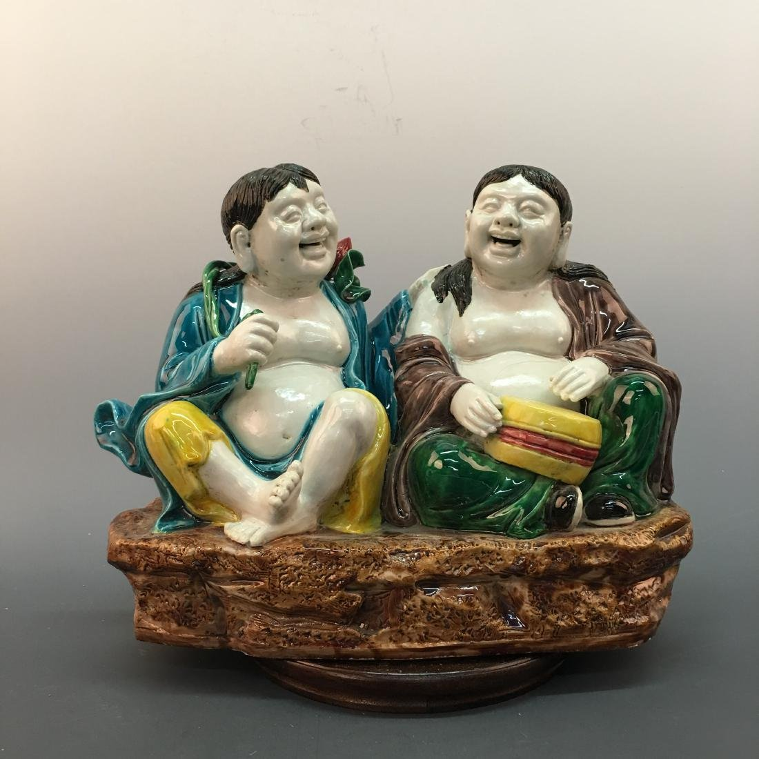 A Pair of Chinese Sancai Figures