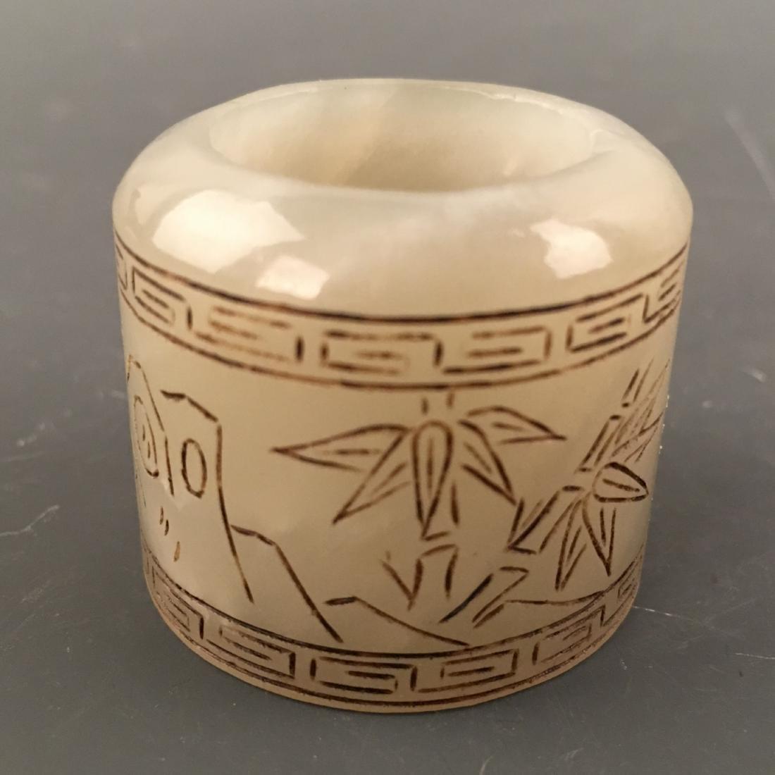 Chinese Archaic 'Bamboo' Jade Thumb Ring