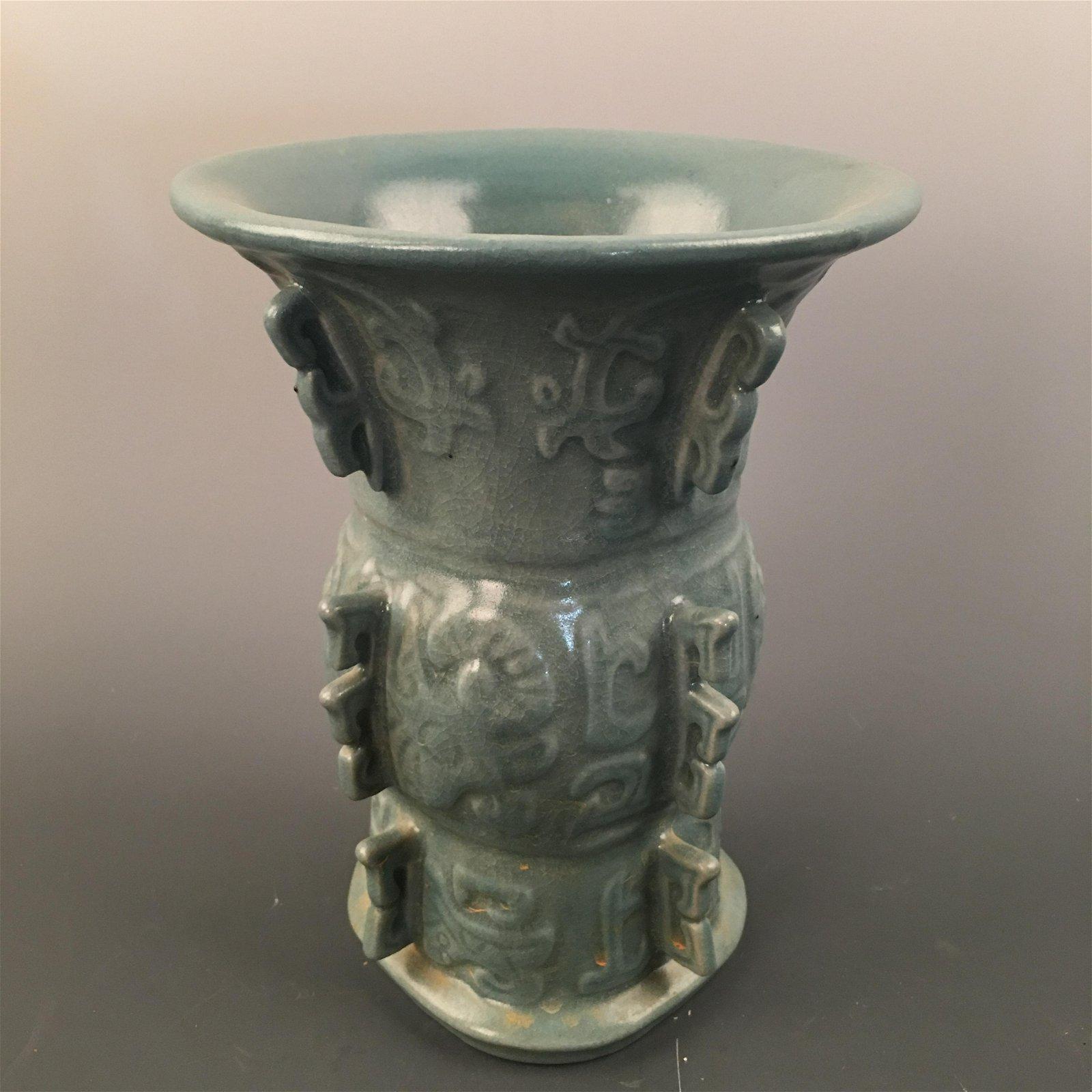 Chinese Celdon Glazed Vase, Kangxi Mark