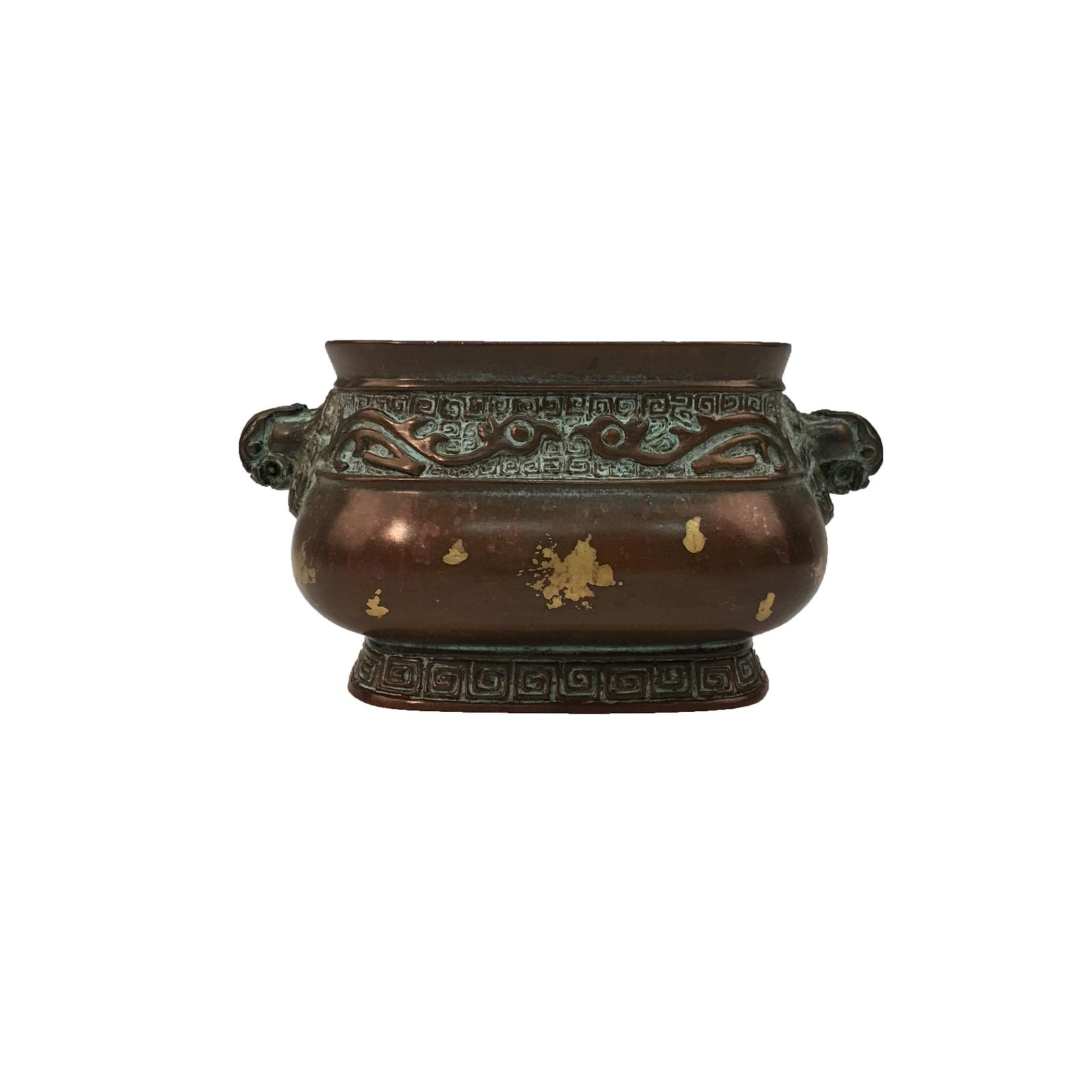 Chinese Bronze Censer Gilt Dots Decorated