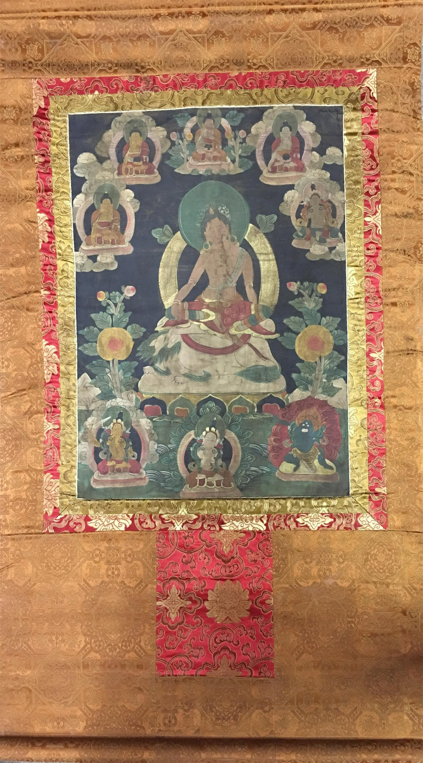 Chinese Hanging Scroll Tibetan Thangka and Lineage on
