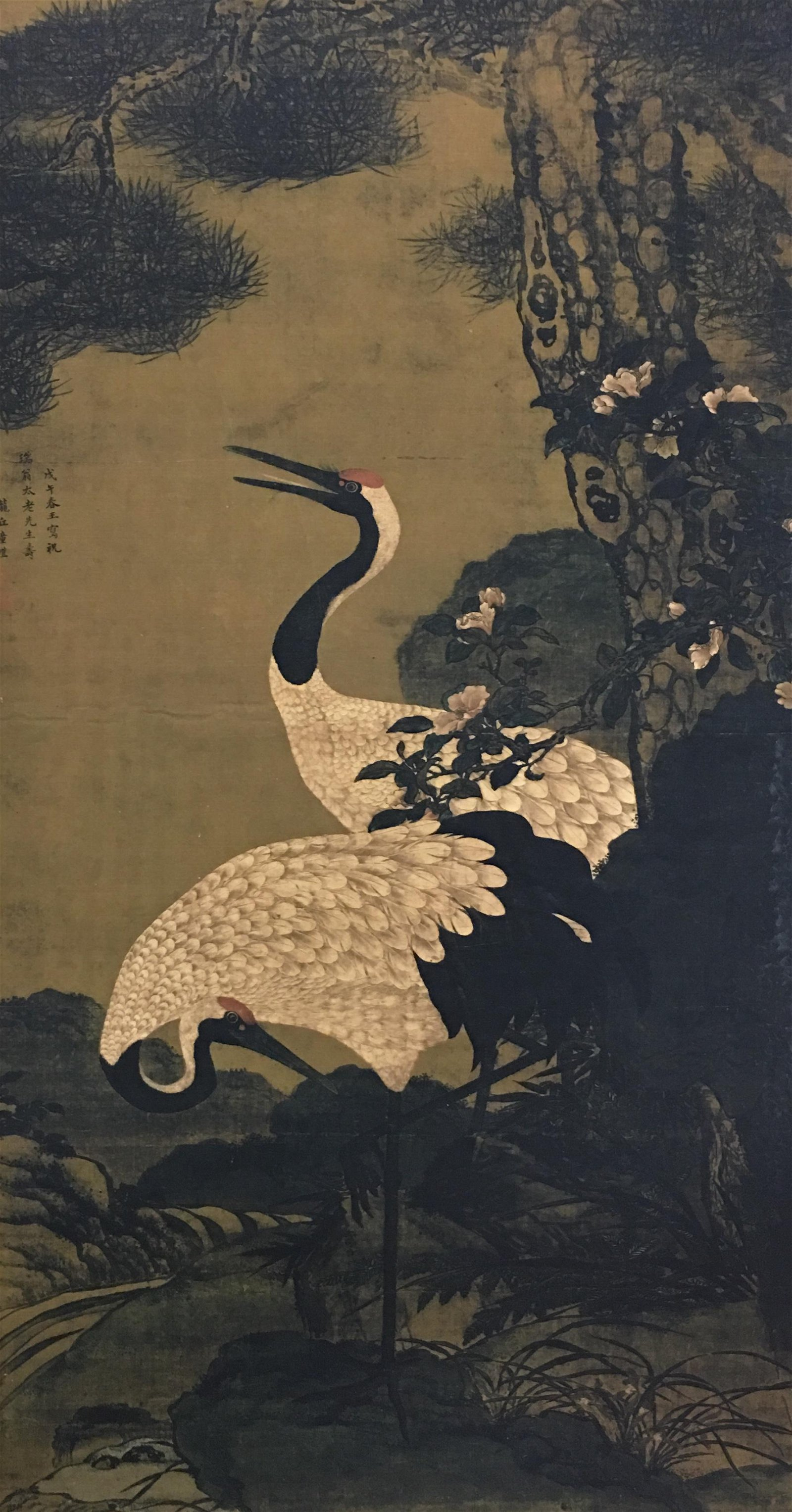 Chinese Hanginag Scroll of Red-Crowned Crane Painting