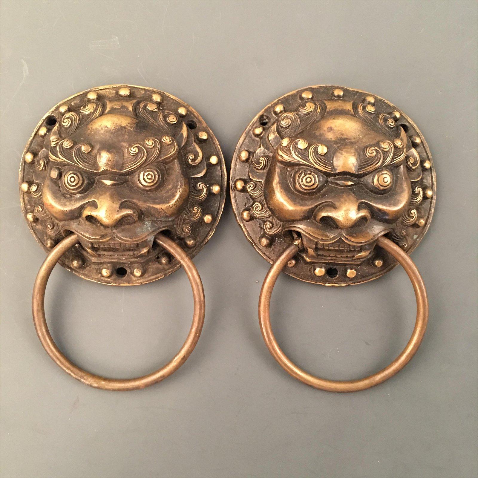 Chinese Bronze Lion Door Bell Pair