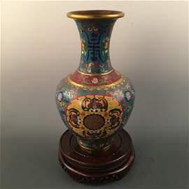 Chinese Cloisonné Bronze 'Fu Shou' Vase
