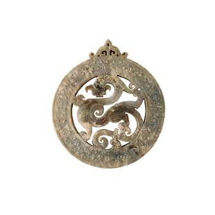 Chinese Jade 'Dragon' Pendant Openwork