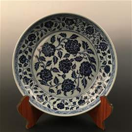 Chinese Blue and White Flower Dish