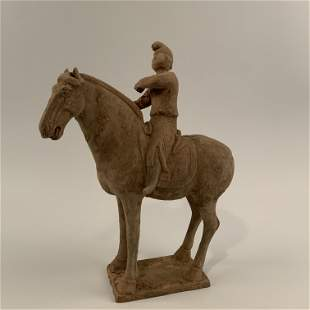 Chinese Pottery Figure Of a Man on a Horse