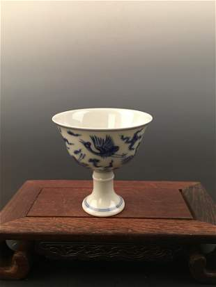 Chinese Blue and White Wine Cup with Chenghua Mark