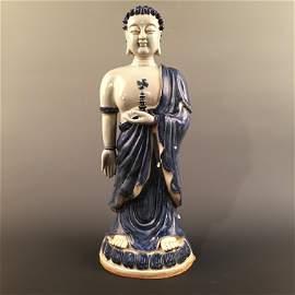 Chinese Blue-White Buddha Statue