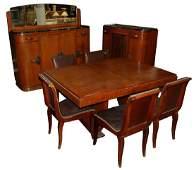 1161 11-Pc. Burled Walnut Art Deco Dining Suite c. 1920