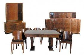 1182 Art Deco Walnut & Burl 11-Piece Dining Room Suite