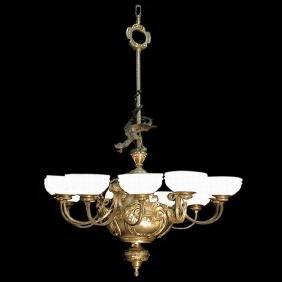 4098 12-Light Bronze Chandelier with Alabaster Shades