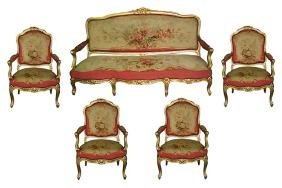 4604 French 5-Piece Louis XV Giltwood Salon Suite