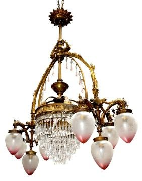 5343 19th C. 8-Arm Bronze Chandelier with Dolphin Heads