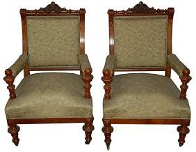 5521 Pair of 19th C. Renaissance Revival Armchairs