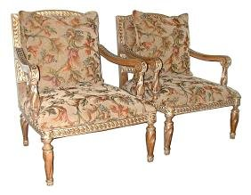 5602 Pair of 20th C. Upholstered Armchairs