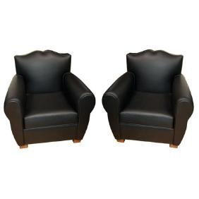 "6685 Pair of Leather Art Deco ""Moustache"" Club Chairs"