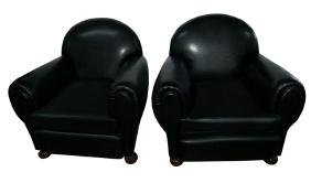 7026 Pair of Art Deco Black Leather Club Chairs c. 1920