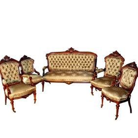 7279 19th C. American 5-Pc. Rosewood Rococo Parlor Set