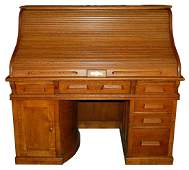 1134 19th C. American Oak Rotary Pedestal Rolltop Desk