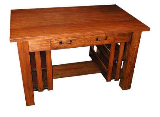 - 4850 Charming Antique Oak Mission Desk Or Table