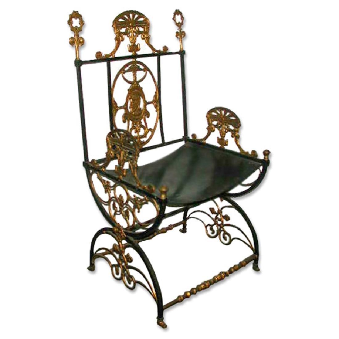 5040 Antique 19th C. Iron & Bronze Chair by Oscar Bach
