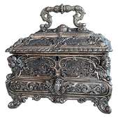 19th C. Silver Plated Decorative Jewelry Box
