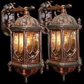 Pair of Rare 19th C. Cast Iron Gothic Revival Sconces