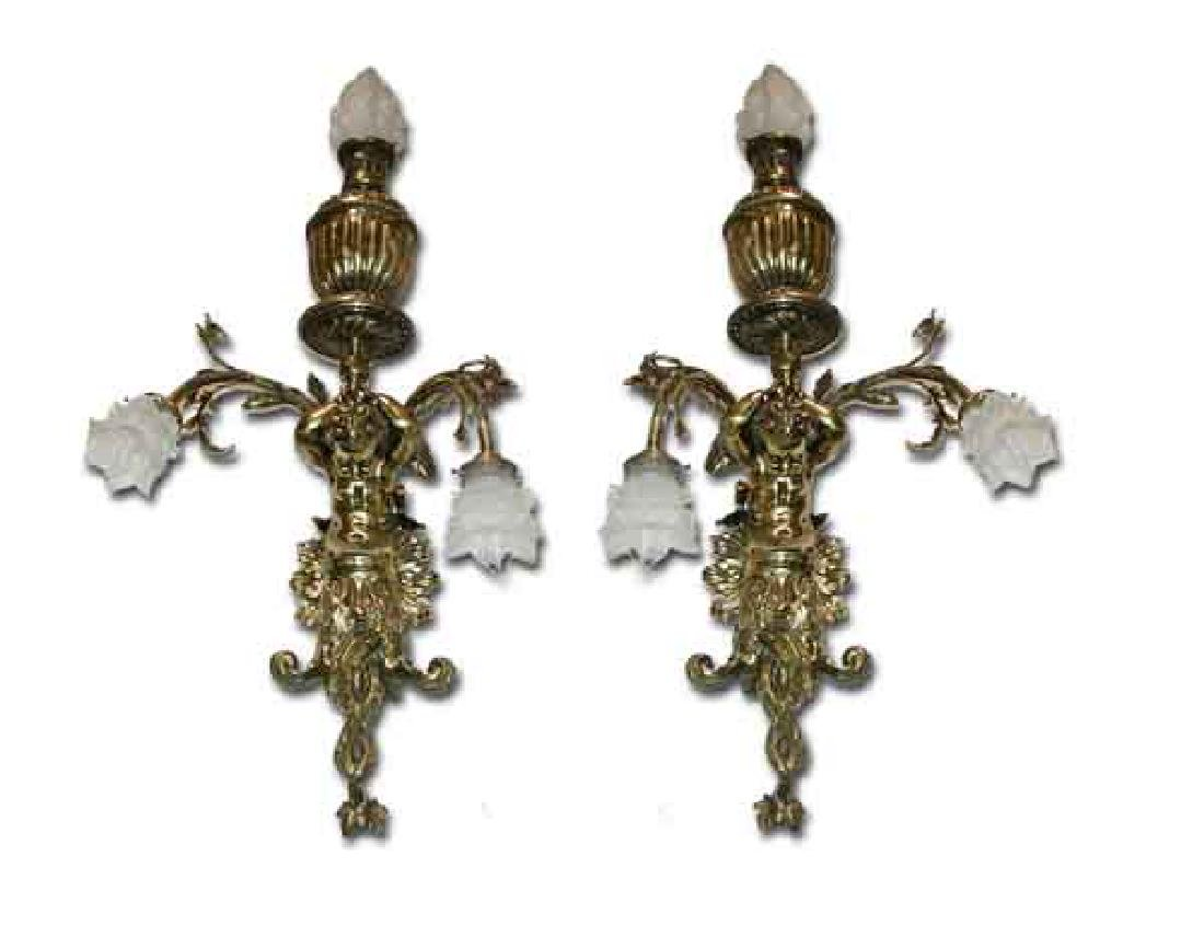 Pair of Brass Wall Sconces with Figural Cupids