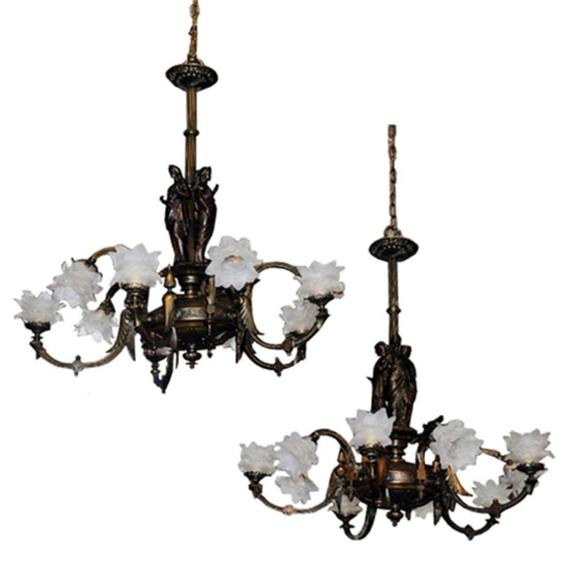 Pair of Antique 19th C. Bronze Figural Gas Chandeliers