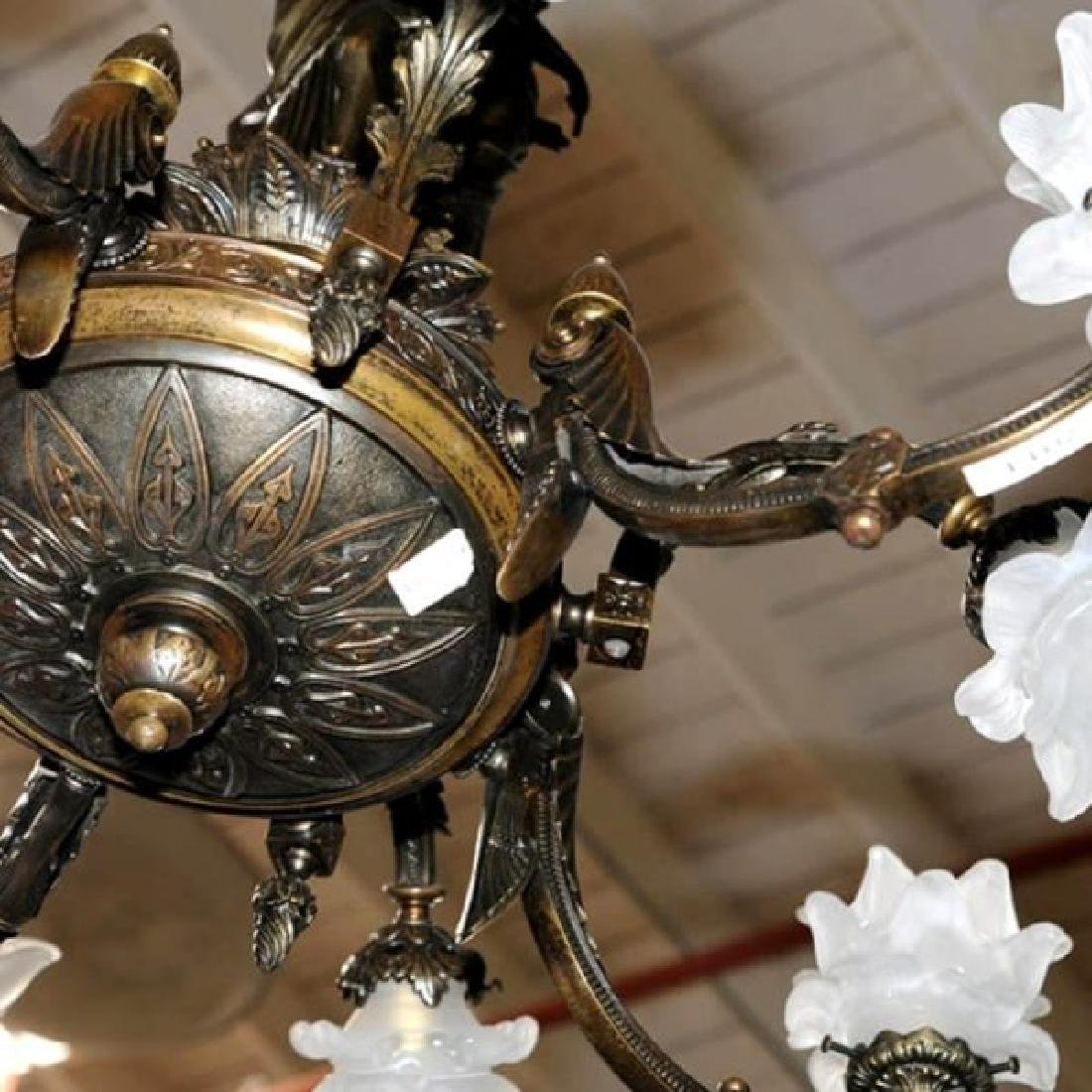 Pair of Antique 19th C. Bronze Figural Gas Chandeliers - 3
