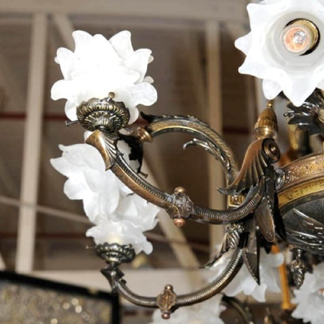 Pair of Antique 19th C. Bronze Figural Gas Chandeliers - 4