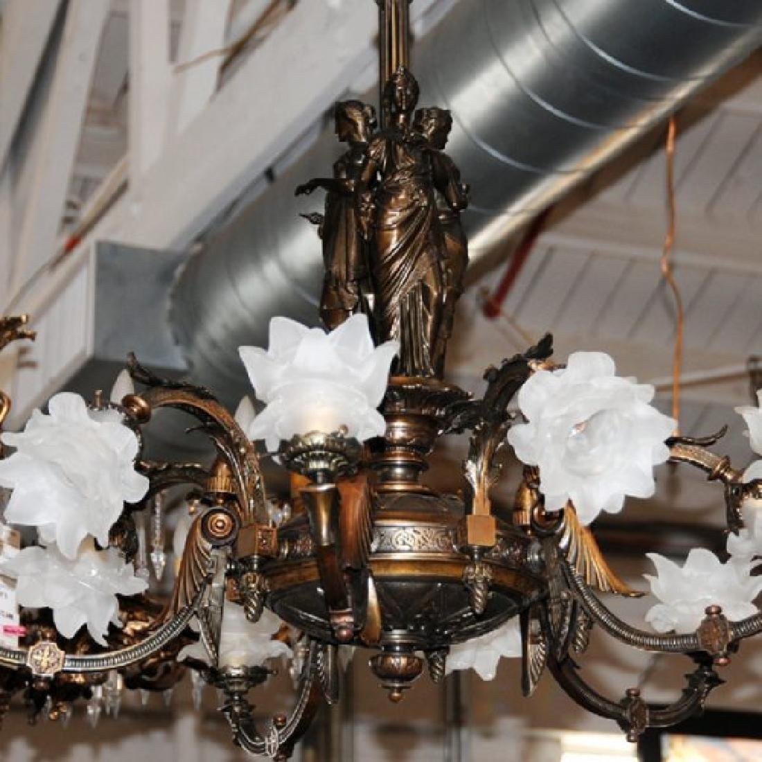 Pair of Antique 19th C. Bronze Figural Gas Chandeliers - 6